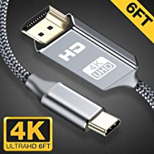 USB C to HDMI Cable 4K@60Hz,Snowkids 6FT/1.8M Type C to HDMI Cable(Thunderbolt 3 Compatible) for Pad Pro/MacBook Air 2018,MacBook Pro,Mac Mini 2018,Surface Book 2,Samsung S9/S8/S10 and More-Grey