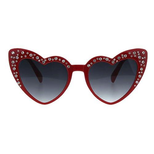 b44fd35e3b7e Iced Out Rhinestone Bling Womens Cat Eye Heart Shape Plastic Sunglasses