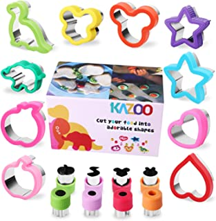 KAZOO 18 Piece Kids Food Shapes Cookie Cutter Kids Sandwich Cookie Cutters Shapes Mini Vegetable Fruit Cutter Shapes Set for Bento Box-Stainless Steel