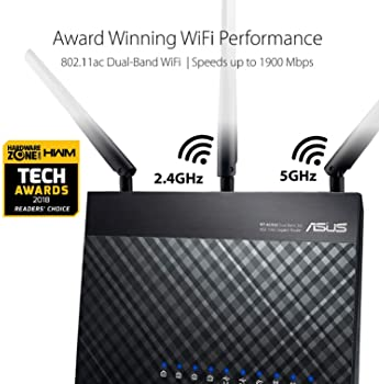 Asus AC1900 Dual Band Gigabit WiFi Router with MU-Mimo, Aimesh for Mesh WIFI System, Aiprotection Network Security Po...