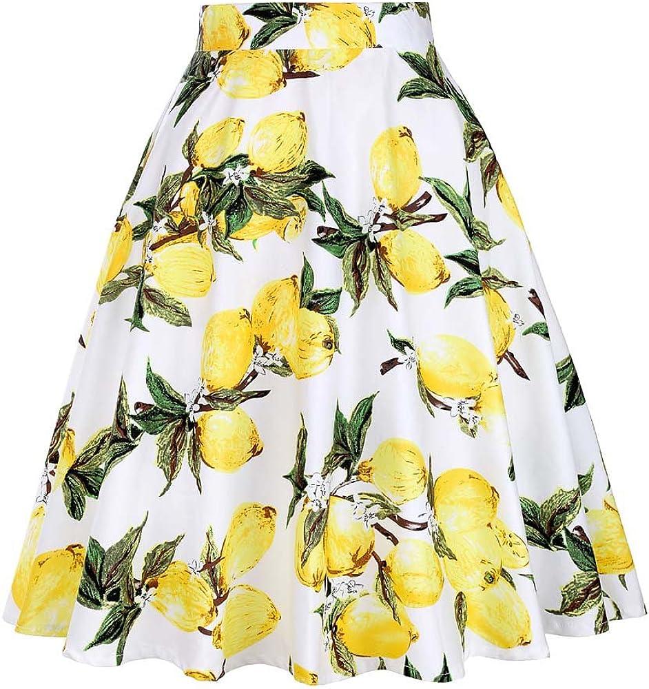 2018 Blue Red Black Skirt Women High Waist Plus Size Floral Polka Dots Ladies Summer Skirts Vintage Sexy Skirt VD0020