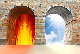 Leyiyi 5x3ft Heaven and Hell Photography Background Two Choice Gate AArch Door Entrence Vintage Rustic Brick Wall Paradise Underworld Backdrop to Be or Not to Be Photo Portrait Vinyl Studio Prop