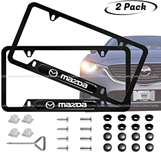 Carfun 2pcs for Mazda Front and Rear License Plate Frames,Newest 3D Matte Aluminum Alloy License Plate for Mazda Mazda 2, 3,5,6, CX-5,CX-7,CX-8,M6, MX5,RX7, RX8, A8, CX9, MX6,R3, M2 M3,M5