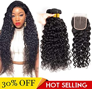 Brazilian Water Wave Bundles with Closure 3 Bundles Wet and Wavy Human Hair with Closure Swiss Lace Middle Part (12 14 16 inch with 10 inch closure)