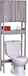 Evideco  Bath Over The Toilet Space Saver Cabinet 2 Doors 1 Shelf Washed Gray Oak, 23 3/4
