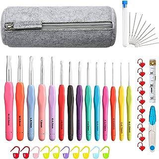 QLKJ Kit D'aiguilles a Tricoter en Aluminium avec Boîtier de Tricot Crochet avec Boîtier 14 Tailles Multicolores Crochets ...