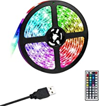 Gluckluz LED Light Strip 2M USB Bedroom Color Changing Rope Lighting 5050 RGB Waterproof Decoration Lights with Remote for...
