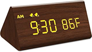 MOSITO Digital Wooden Alarm Clock with 0-100% Dimmer, Dual Alarm, Weekday /Weekend Mode, Snooze, Wood Made LED Clocks for ...