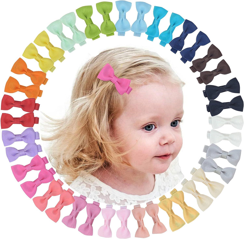 VEGCOO 40 Piezas Lazos Pelo Bebe Niña, Horquillas Clips Cinta para el Cabello de Color Mixto, Accesorios para el Cabello para Bebé Niña (B)