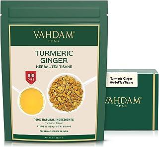 VAHDAM, Turmeric + Ginger POWERFUL SUPERFOOD Blend (100 Cups) Herbal Tea | POWERFUL Wellness & Healing Properties of TURME...
