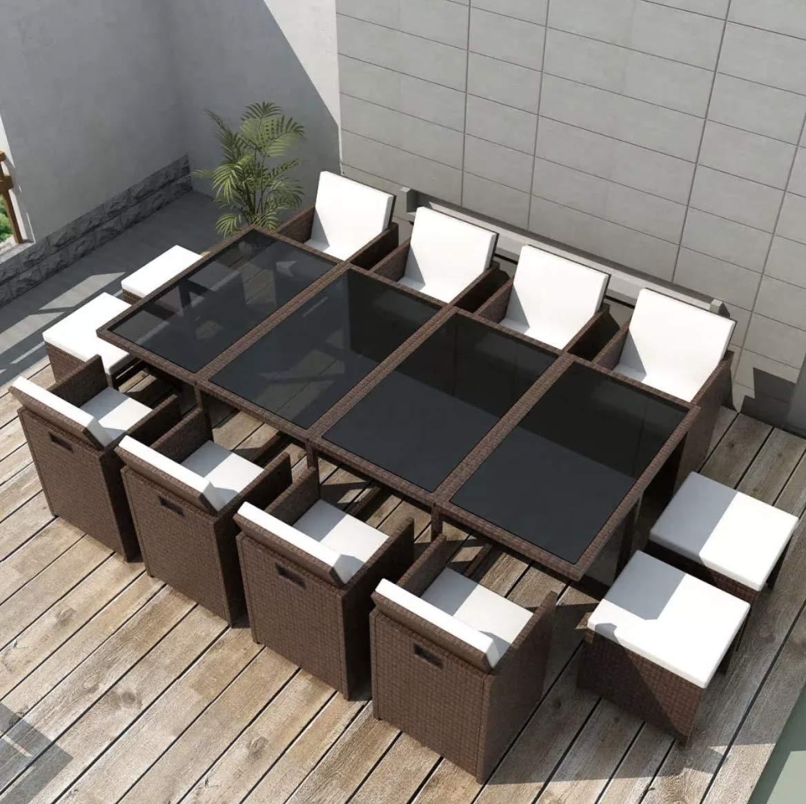 Juego de comedor grande de ratán para exteriores, muebles de jardín, mesa de cristal de color