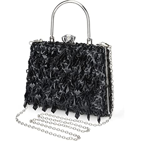 UBORSE Abendtasche Damen Diamant Clutch Bag Kette Shiny Strass Handtasche Umhängetasche für Hochzeit Party - Schwarz