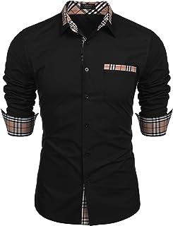 COOFANDY Men's Cotton Casual Long Sleeve Dress Shirt Plaid Collar Regular Fit Button Down Shirt
