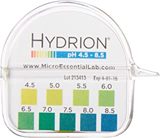 Micro Essential Lab 2210 Plastic Hydrion Vivid Short Range pH Test Paper Dispenser, 4.5 - 8.5 pH, Single Roll