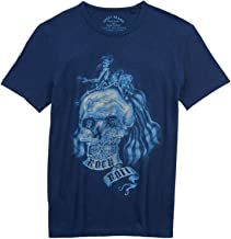 Lucky Brand Men's Cotton Skullillusion Rock N Roll Short Sleeve Tee Shirt American Navy
