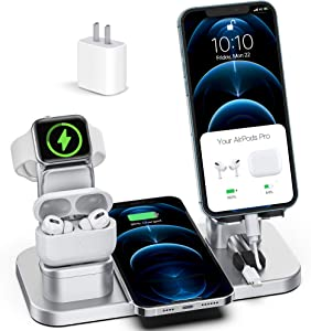 Wireless Charger Stand, CEREECOO 4 in 1 Wireless Charging Station Dock Compatible with iPhone Series12/11/11pro/Xr/Xs/X/Max/8/8Plus Apple Watch6/5/4/3 AirPods Pro/1/2(iWatch Charger Required)