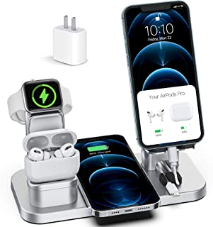 Wireless Charger Stand, CEREECOO 4 in 1 Wireless Charging Station Dock Compatible with iPhone Series13/12/11/11pro/Xr/Xs/...