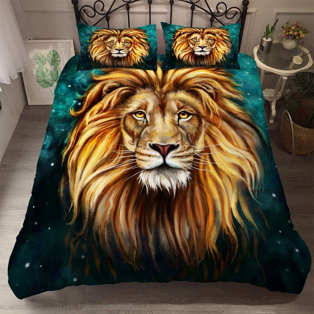 Tulsa Mall Duvet Cover Queen Lion Painting Soft Cosy Easy Max 46% OFF Care Beddin