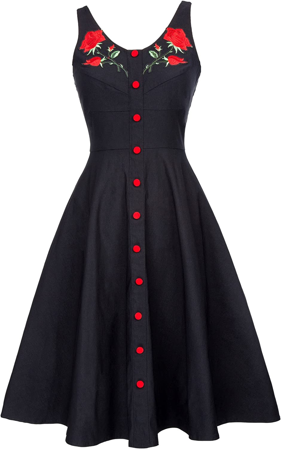 Belle Poque Women's Vintage Dress Sleeveless Flower Embroidery A-Line Swing Party Dress