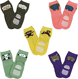 Fun Zoo Animal Non-Skid Baby Socks, set of 5, Size: 1T-3T (approx 7 x 2.75)