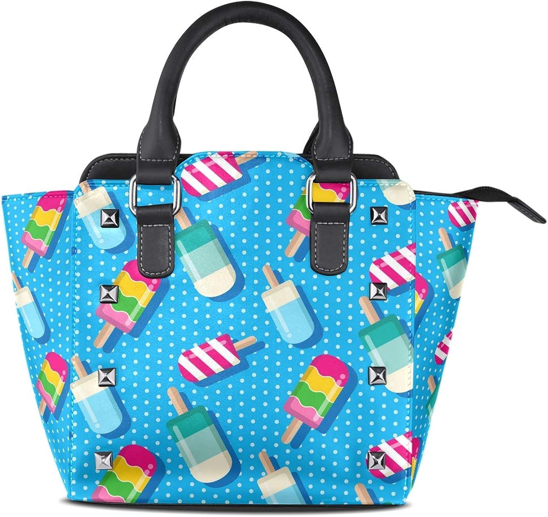 My Little Nest Women's Top Handle Satchel Handbag colorful Summer Popsicle Ladies PU Leather Shoulder Bag Crossbody Bag