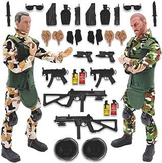 deAO Soldados de Fuerzas Armadas Conjunto de 2 Figuras de Acción Unidad de Defensa Militar Muñecos de Combate con Accesorios Incluidos