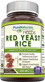 Pure Naturals Red Yeast Rice 1200 Mg Per Serving 240 Veggie Capsules Promotes Healthy Cardiovascular System...