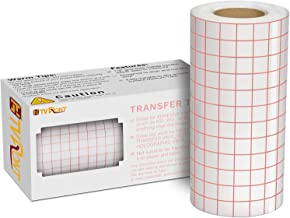 "Clear Vinyl Transfer Paper Tape Roll 6"" x 50 Feet Clear w/Red Alignment Grid - Application Transfer Tape Perfect for Self ..."
