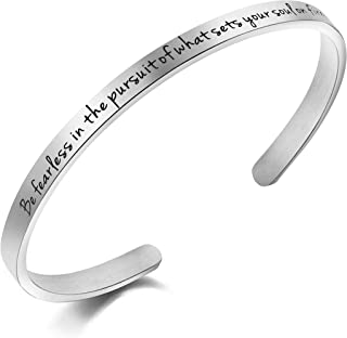 Awegift Be Fearless in The Pursuit What Sets You Soul on Fire Motivational Quote Bracelet Gift Jewelry Women Girls