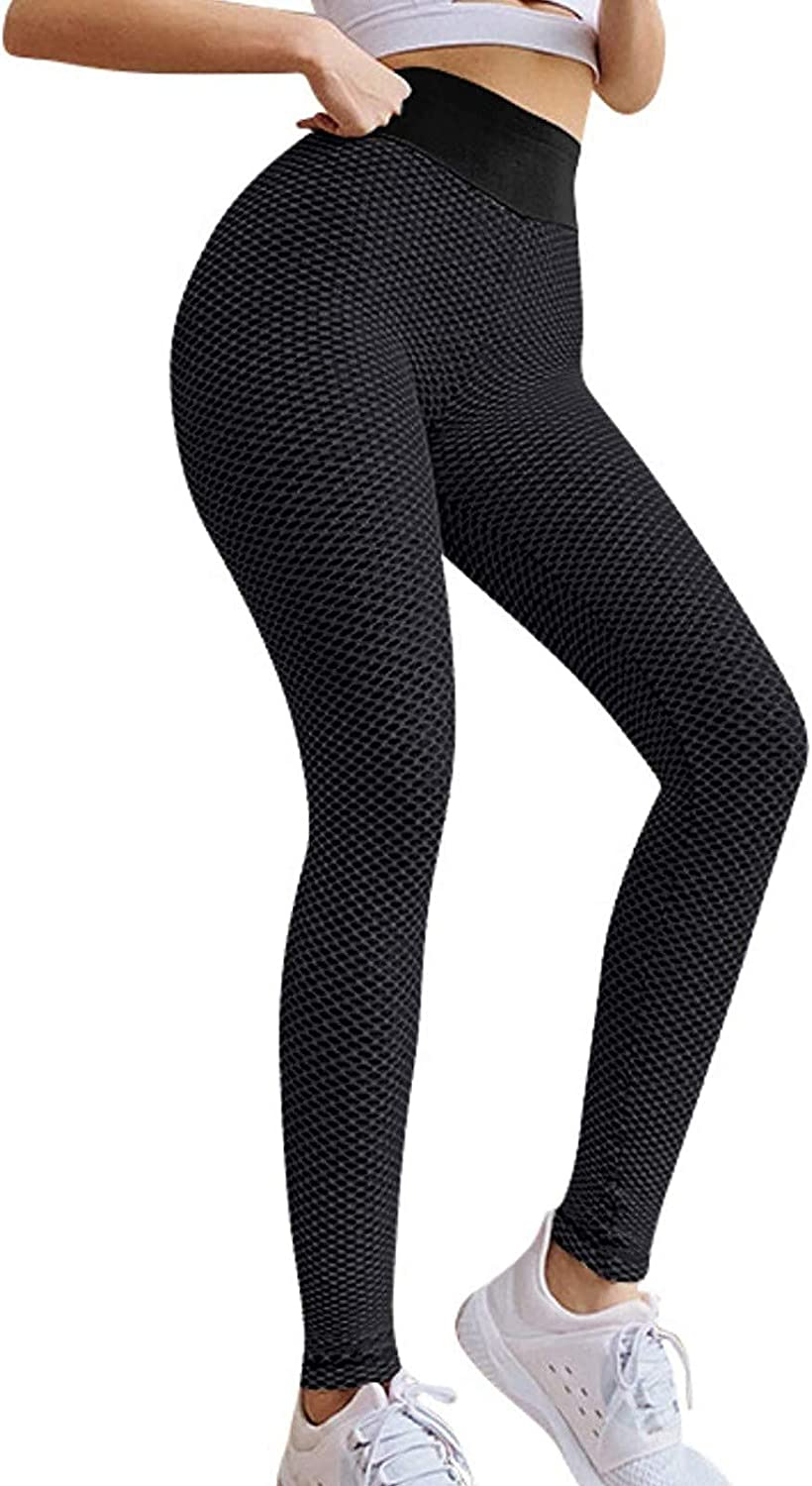 BEIBEIA Women's High Waisted Yoga Lifting Butt Shipping included Hip Pants Bubble Same day shipping