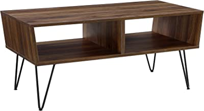 Walker Edison Furniture Company Mid Century Modern Hairpin Wood Rectangle Coffee Table Living Room Accent Ottoman Storage Shelf, 42 Inch, Walnut Brown