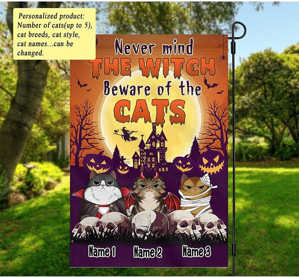 Personalized Cat Halloween Garden Flag, Customize Name Never Mind The Witch Beware of The Cats Garden Flag Outdoor Home