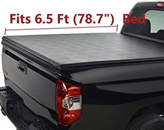 Deebior Clamp On Soft Lock & Roll-up Top Mount Tonneau Cover |1228| Black Vinyl Bed Cover Compatible With Chevy Silverado/GMC Sierra 07-13 1500 07-14 2500/3500 HD New Body Pickup 6.5ft Fleetside Bed