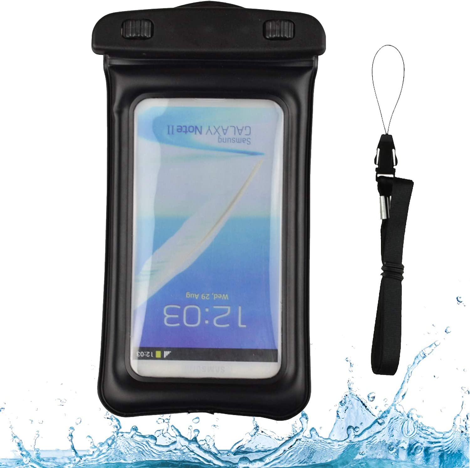 Black Floating Waterproof Cell Phone Case Dry Bag Pouch Compatible with LG Harmony 4, Fortune 3, Tribute Monarch, K31 Rebel, K22, Aristo 5, Arena 2