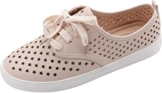 Mila Lady Tiffany Women Canvas Laser Cut Lace up Perforated Flat Sneaker