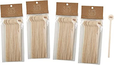 SIPS Drinkware Wooden Stir Sticks for Coffee or Cocktails, Pack of 12 6 Inch Brown B4378