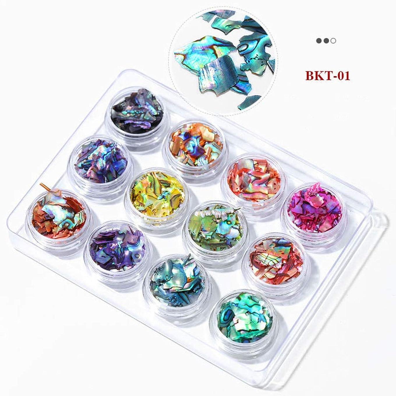フェリー冷蔵庫モナリザOWNFSKNL 3Dネイルアートクラッシュシェル貝殻セットDIYオーシャンピーススパンコールネイルマニキュアインテリアチャームアクセサリーアクセサリーサプライ (Color : 01)