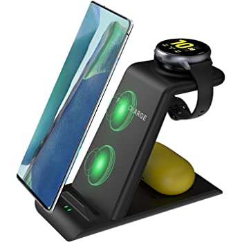 Kartice 3 in 1 Wireless Charger Station Compatible with Samsung Galaxy S21 Ultra/S21/Note 20/S20/S10/S9/W21, Wireless Charging Stand for Galaxy Buds Pro Live/Active 2/Galaxy Watch 3 45mm 41mm Charger