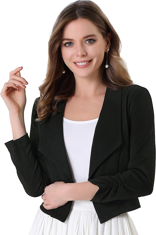 Allegra K Chaqueta Corta Solapa con Muesca Manga Larga Frente Abierto Trabajo Oficina Blazer para Mujer