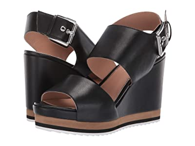 LINEA Paolo Erika Wedge Sandal (Black Nappa Leather) Women
