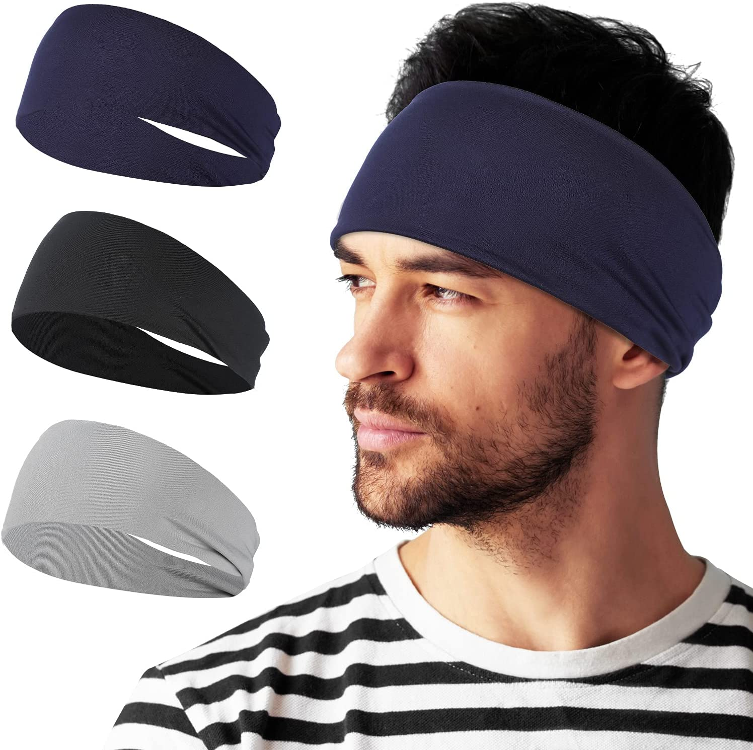 Mens Be super welcome Headband Nippon regular agency - 3 Pack Sweat Headbands for Band Running Runnin