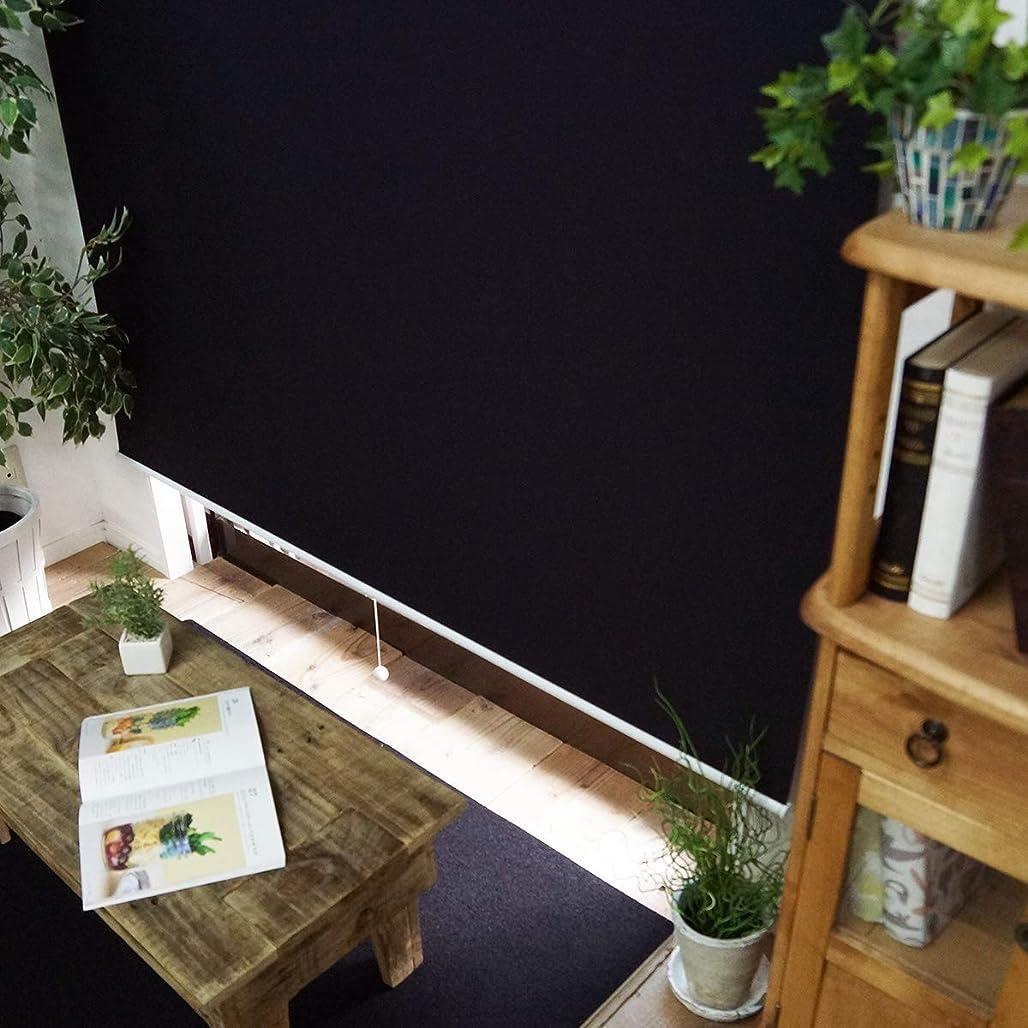コンテンポラリー誇張するクローングラムスタイル ロールスクリーン 1cm単位 サイズ指定無料 (非遮光 幅90cm 高さ180cm) ブラック チェーン式 左操作