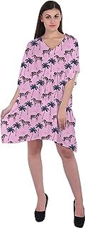 RADANYA Animal Print Women's Casual wear Cotton Kaftans Swimsuit Cover up Caftan Beach Short Dress