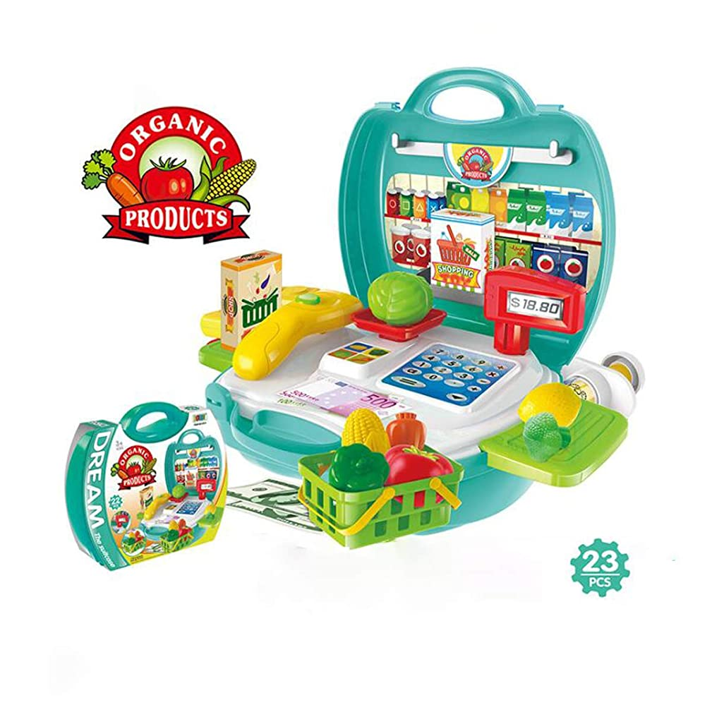 Harborii Pretend Toy Organic Vegetable Products & Cash Register Supermarket Play Set 23 Pcsin a Portable Case Easy Assembly