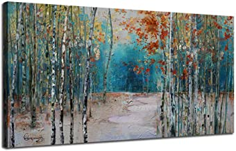 Ardemy Canvas Wall Art White Birch Trees Picture Painting One Panel Blue Forest Landscape, Modern Nature Teal Artwork Prints 48