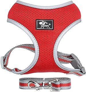 BLEVET Puppy Dog Vest Harness Soft Adjustable Comfortable Breathable Mesh Pet Harness Lead Leash AU-MZ046-1 (L, Red)