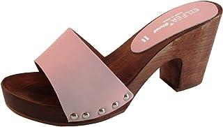 Silfer Shoes Zoccolo Donna - in Vero Legno - Vera Pelle Colore Rosa, Pesca - Colore Rosa - -Susy B