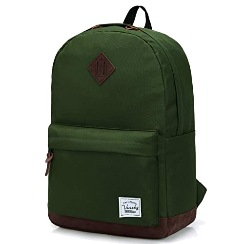 Vaschy Unisex Classic Water Resistant School Backpack Fits 14Inch Laptop