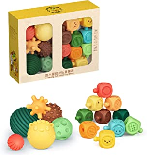 Portonss 6/10/16pcs Textured Multi Ball Set Bath Toy for Sensory Exploration and Engagement for Ages 6 Months and up