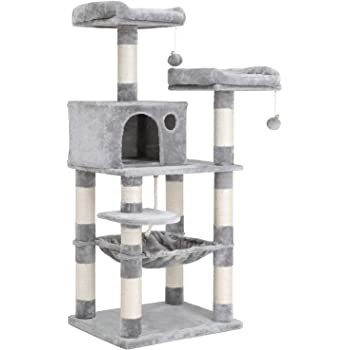 FEANDREA 56.3 inches Multi-Level Cat Tree with Sisal-Covered Scratching Posts, Plush Perches, Hammock and Condo, Cat Tower Furniture - for Kittens, Cats and Pets